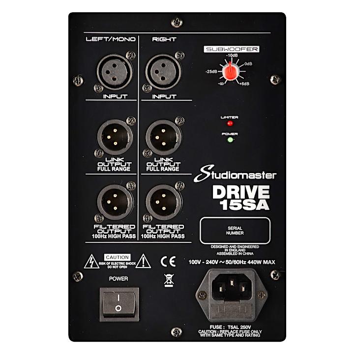 Studiomaster Drive 15SA rear panel