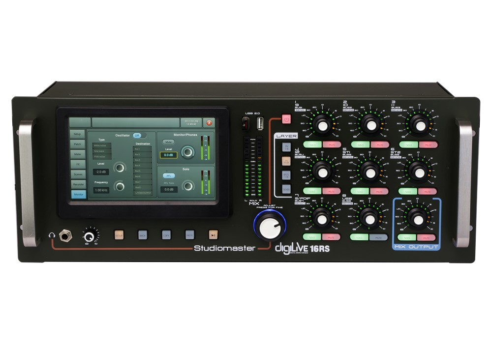 Studiomaster Digilive 16 RS digital mixing console front panel