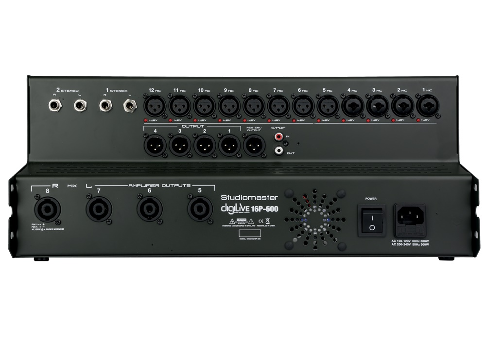 Studiomaster digilive16p-600 rear panel