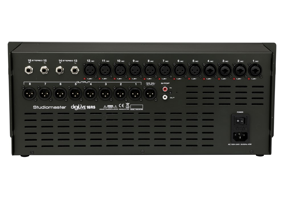 Studiomaster Digilive 16 RS digital mixing console rear back panel
