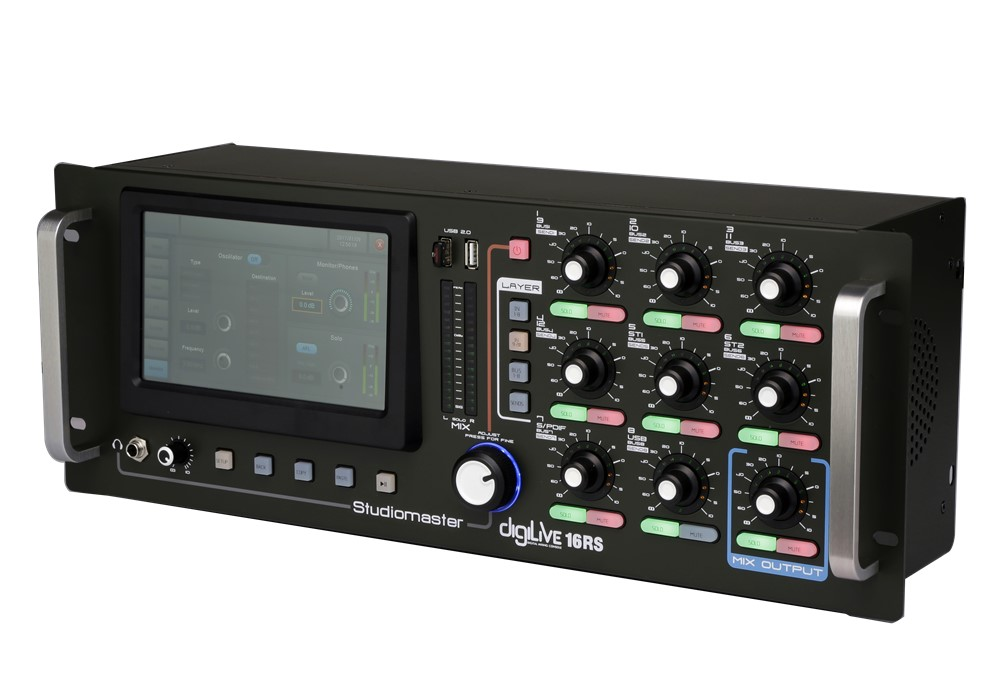 Studiomaster Digilive 16 RS digital mixing console right angle